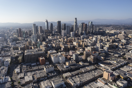 Los Angeles, California, USA - August 6, 2016:  Summer afternoon aerial view of downtown Los Angeles architecture.
