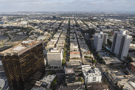 Los Angeles, California, USA - August 6, 2016:  Afternoon aerial view of architecutre along Wilshire Blvd on the west side of Los Angeles.