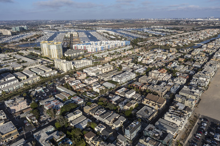Los Angeles, California, USA - August 6, 2016:  Afternoon aerial view of Venice and Marina Del Rey in the city of Los Angeles Stock Photo