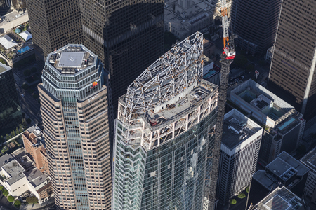 western united states: Los Angeles, California, USA - August 6, 2016:  Wilshire Grand Center in Los Angeles nears completion.  The 1100 foot tall building is the tallest tower in western United States.