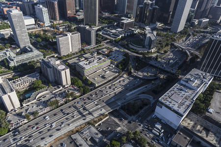 Los Angeles, California, USA - August 6, 2016:  Afternoon aerial view of the Harbor 110 freeway downtown.