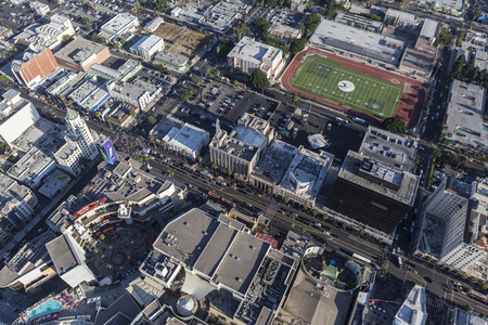 hollywood   california: Los Angeles, California, USA - August 6, 2016:  Afternoon aerial view of Hollywood Blvd and Highland Av in Hollywood, California. Editorial