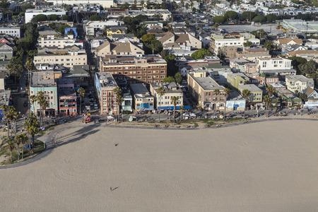 ca: Los Angeles, California, USA - August 6, 2016:  Summer afternoon aerial view of Venice Beach in Southern California. Editorial