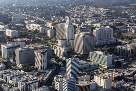 civic center: Los Angeles, California, USA - August 6, 2016:  Afternoon aerial view City Hall and Civic Center buildings.