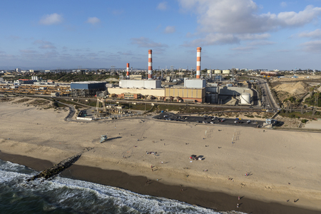 generating station: Los Angeles, California, USA - August 6, 2016:  Aerial view of Dockweiler State Beach and LADWP Scattergood generating station on an industrialized section of the southern California coast. Editorial