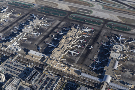 california delta: Los Angeles, California, USA - August 17, 2016:  Afternoon aerial view of busy terminals at LAX.