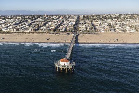 Afternoon aerial view of popular Manhattan Beach Pier near Los Angeles, California. Stock Photo