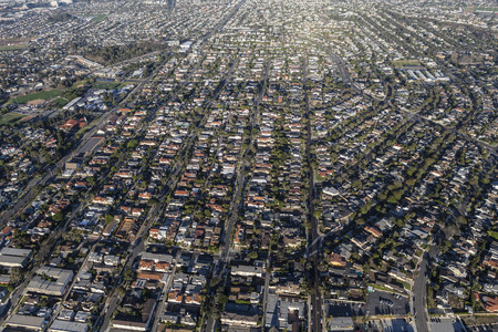 los angeles county: Afternoon aerial view of residential areas in the south bay area of Los Angeles County, California.   Stock Photo