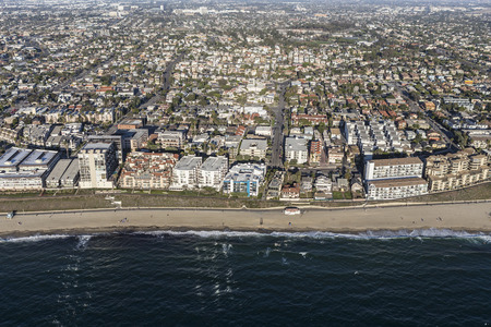 southern california: Aerial View of the Redondo Beach Shoreline near Los Angeles in Southern California.
