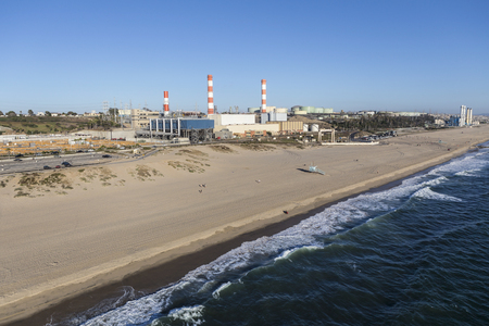 Aerial view of Dockweiler State Beach and Power Plant in Los Angeles, California. Stock Photo