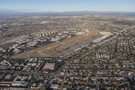 los angeles county: Aerial view of Torrance and South Los Angeles in Southern California. Stock Photo