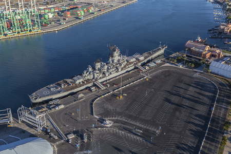 san pedro: Los Angeles, California, USA - August 16, 2016:  Afternoon aerial view of the USS Iowa Balleship Museum in the San Pedro.