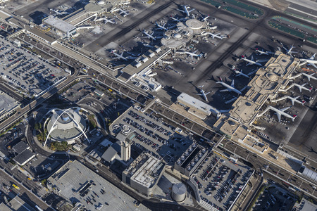 california delta: Los Angeles, California, USA - August 16, 2016:  Aerial view of Los Angeles International Airport terminals and airplanes.