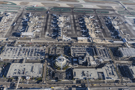 california delta: Los Angeles, California, USA - August 16, 2016:  Aerial view of terminals and parking garages at LAX.
