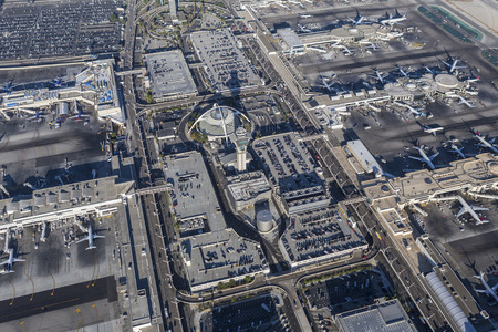 california delta: Los Angeles, California, USA - August 16, 2016:  Afternoon aerial view of LAX terminals, tower, aircraft. Editorial