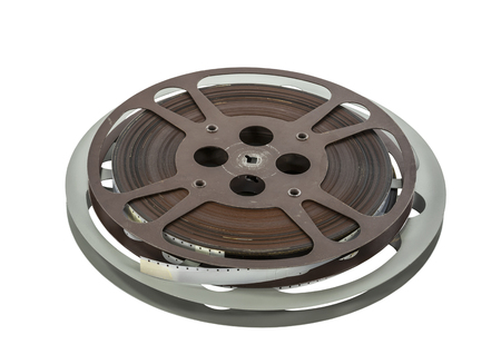 16mm: Vintage 16 mm film reels isolated on white.