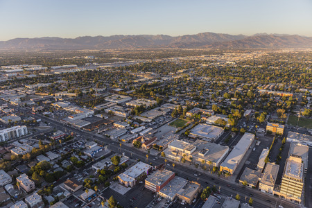 san fernando valley: Los Angeles, California, USA - July 21, 2016:  Late afternoon aerial view of Van Nuys Blvd in the San Fernando Valley area of Los Angeles, California.