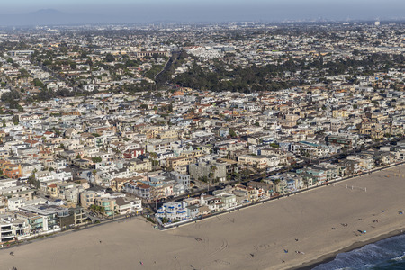 hermosa beach: Hermosa Beach, California, USA - August 16, 2016:  Afternoon aerial view of coastal Hermosa Beach and Manhattan Beach communities in Southern California. Editorial