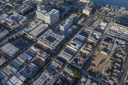 san pedro: Los Angeles, California, USA - August 16, 2016:  Afternoon aerial view of downtown San Pedro in the City of Los Angeles.