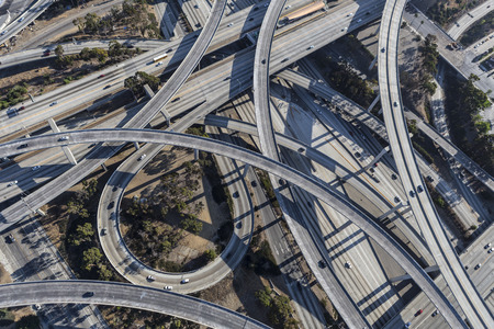 interchange: Los Angeles Harbor and Century freeways interchange ramps and bridges aerial. Stock Photo