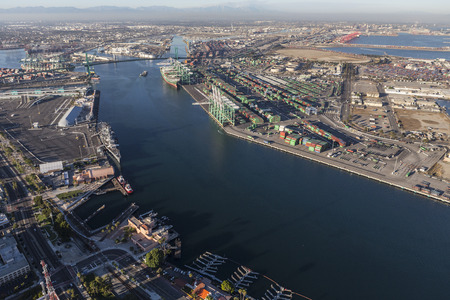 Los Angeles, California, USA - August 16, 2016:  Afternoon aerial view of the main channel in the San Pedro area of Los Angeles harbor.