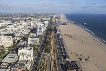 highway 6: Santa Monica, California, USA - August 6, 2016:  Aerial view of Pacific Coast Highway and Santa Monica beach near Los Angeles.