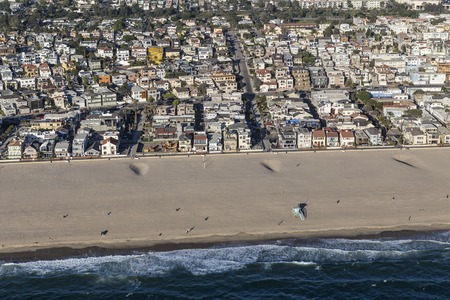 Afternoon aerial view of Hermosa Beach ocean front residential district in Southern California. Stock Photo