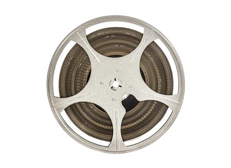 Vintage 8 mm movie film reel isolated on white.