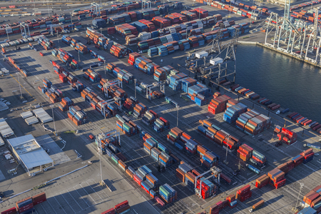 Long Beach, California, USA - August 16, 2016:  Aerial view of harbor cargo containers in Southern California. Editorial