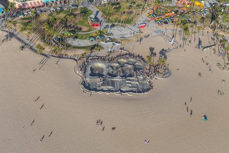 Los Angeles, California, USA - August 6, 2016:  Aerial view of popular Venice Beach Skateboard Park.