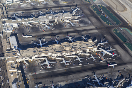 Los Angeles, California, USA - August 16, 2016:  Aerial view of Delta Airlines terminals at LAX. Editorial