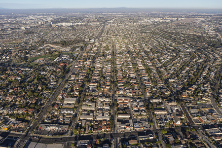los angeles county: Los Angeles, California, USA - August 16, 2016:  Aerial view of South Bay neighborhoods in Los Angeles County, California.