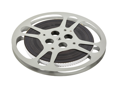 16mm: Vintage double sprocket 16mm film reel isolated on white.