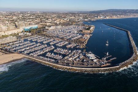 Redondo Beach, California, USA - August 16, 2016:  Aerial view of Redondo Beach Marina and breakwater near Los Angeles, California.
