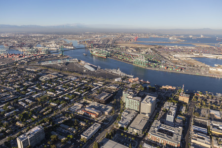 Los Angeles, California, USA - August 16, 2016:  Aerial view of San Pedro and the Los Angeles Harbor main channel. Editorial