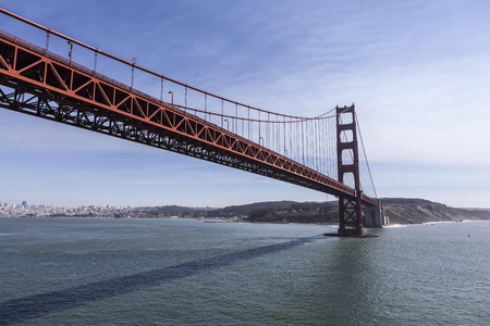 Low aerial of the Golden Gate Bridge in San Francisco, California. Stock Photo