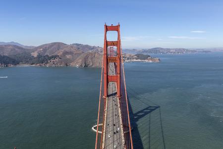 Golden Gate Bridge aerial view towards Marin Headlands near San Francisco, California.