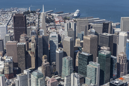 san: Downtown San Francisco city view and waterfront aerial.