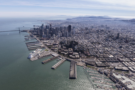 Aerial view of San Francisco city and bay.