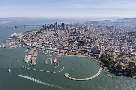 Aerial view of the Marina District, Fishermans Wharf and downtown skyline in San Francisco, California.