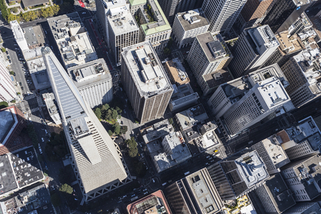 San Francisco, California, USA - September 19, 2016:  Aerial view of San Francisco financial district office towers. Editorial