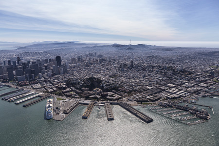 Aerial view of San Francisco North Beach and Fishermans Wharf communities. Stock Photo
