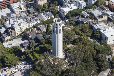 coit tower: Aerial View of Coit Tower Park in San Francisco, California.