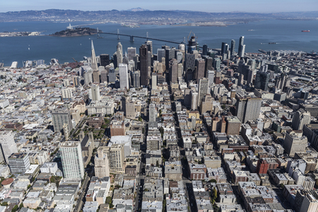 Aerial view of San Francisco and Oakland, California.