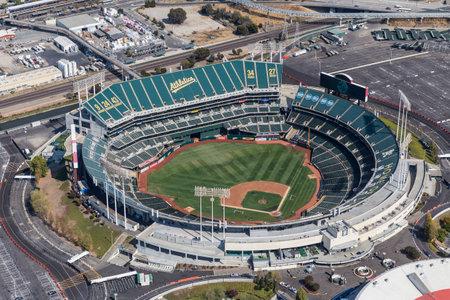 Oakland, California, USA - September 19, 2016:  Aerial view of the Oakland Coliseum baseball stadium.  Home of the Oakland Athletics. Editorial