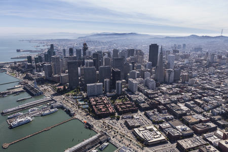 Aerial view of urban downtown San Francisco cityscape. Stock Photo