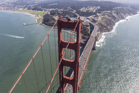 Afternoon aerial view of the Golden Gate Bridge and Highway 101 in San Francisco, California.