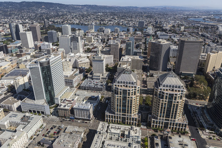 Aerial view of downtown Oakland, California.