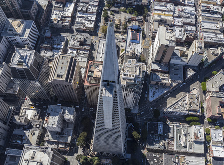 San Francisco, California, USA - September 19, 2016:  Aerial view of the Transamerica tower in downtown San Francisco.