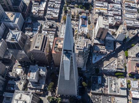 transamerica: San Francisco, California, USA - September 19, 2016:  Aerial view of the Transamerica tower in downtown San Francisco.